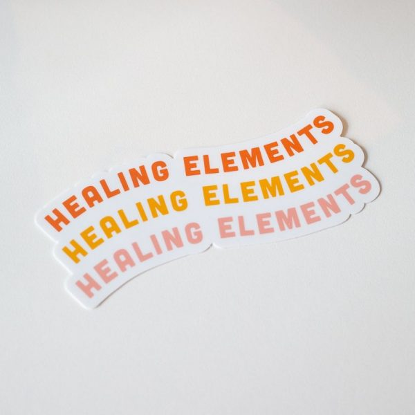 healing elements wellness orange yellow and pink sticker