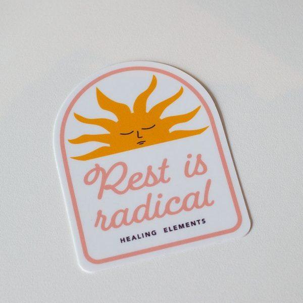 White Sunshine Rest Is Radical Healing Elements Sticker