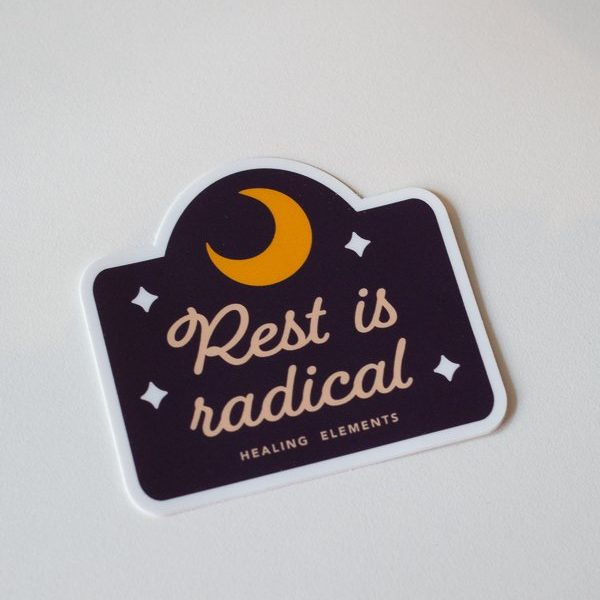Black Moon Rest Is Radical Healing Elements Sticker
