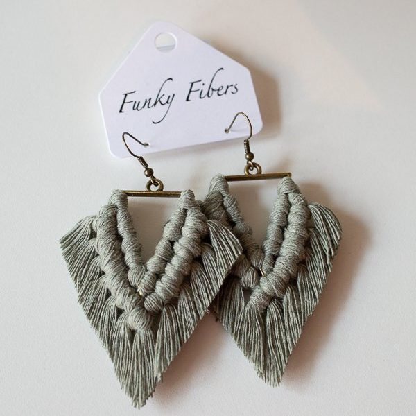 triangular earrings by funky fibers