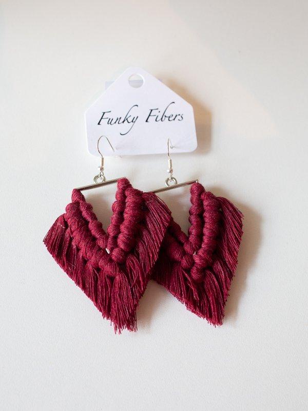 triangular earrings by funky fibers