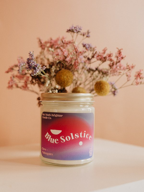 blue solstice soy candle made by soy much brighter