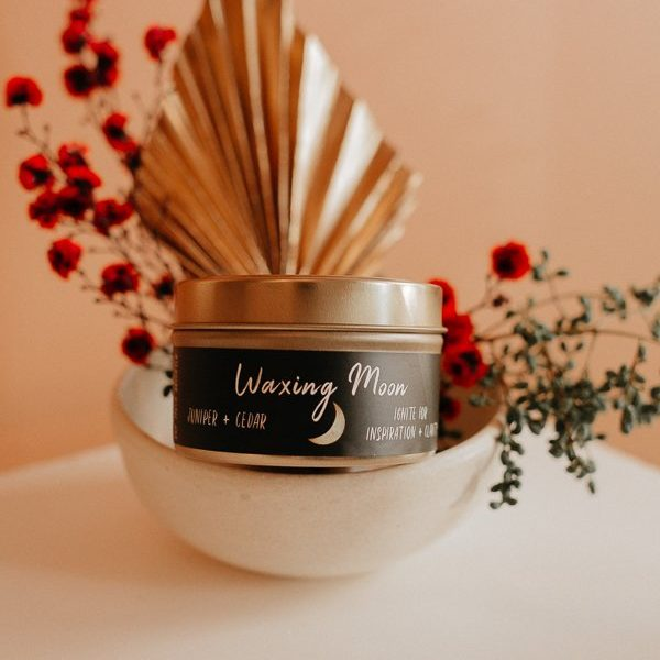 Soy Much Brighter Waxing Moon Candle in a tin