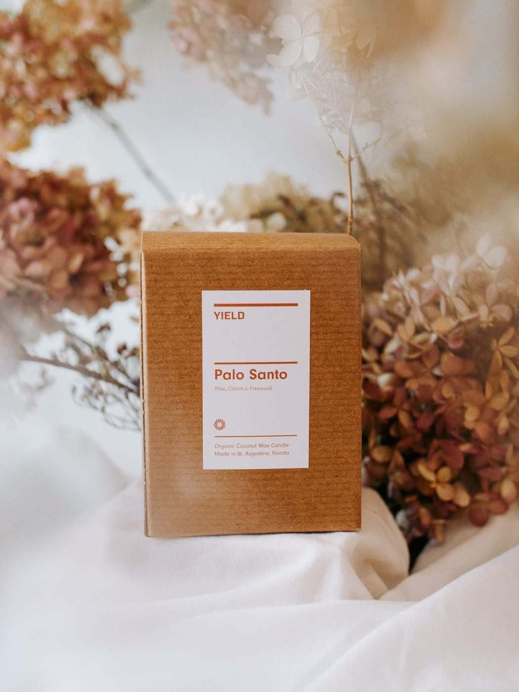palo santo candle in a box by YIELD