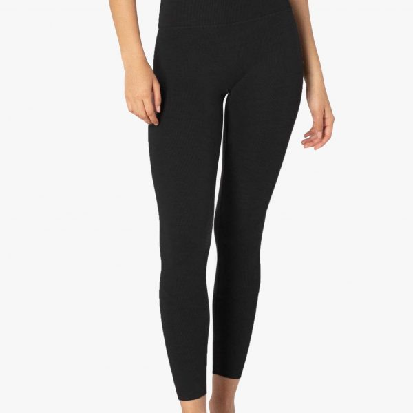 Black Heather Ribbed High Waisted Leggings and Yoga Pants