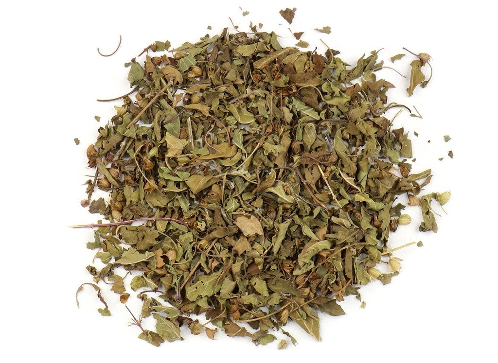small pile of krishna holy basil from mountain rose herbs