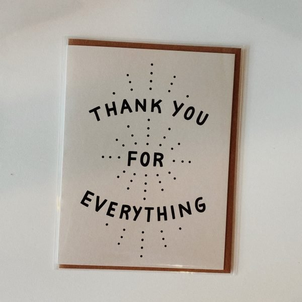 "image of a greeting card that says ""thank you for everything"" made by worthwhile paper"