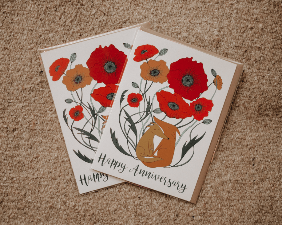happy anniversary card with loving dogs