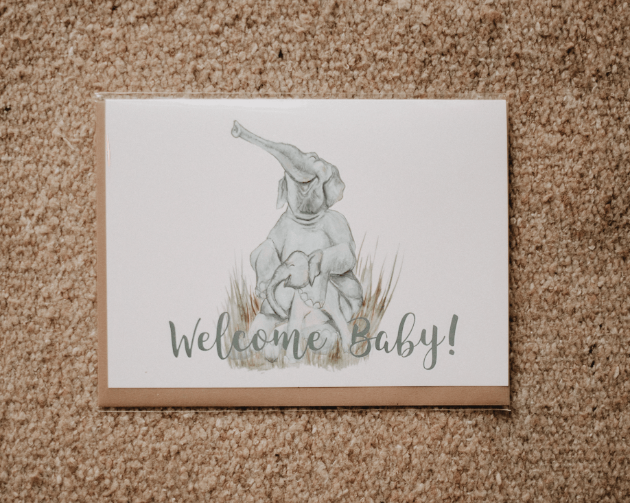 welcome baby elephant greeting card