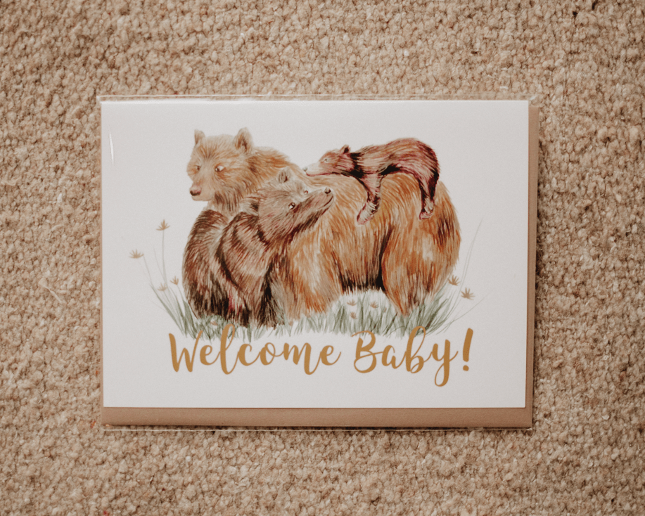 welcome baby bear family greeting card