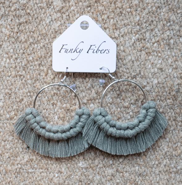 Photo of handmade hoop macrame earrings by Funky Fibers MN