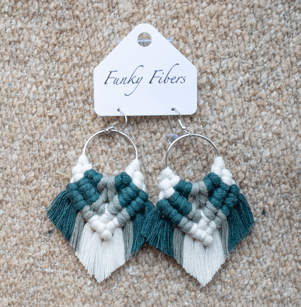 Photo of Elyse-style fringe macrame earrings in Green from Funky Fibers MN