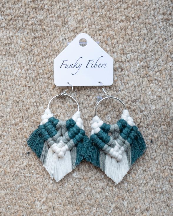 Photo of Elyse-style fringe macrame earrings in Green from Funky Fibers MN