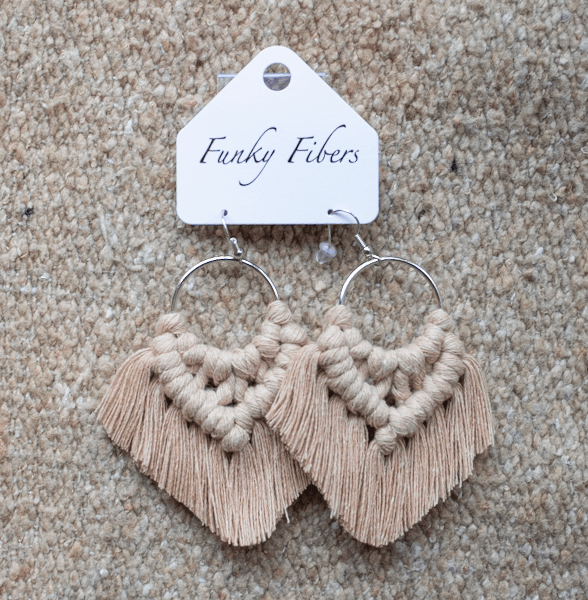 Photo of the handmade Funky Fibers earrings in tan color