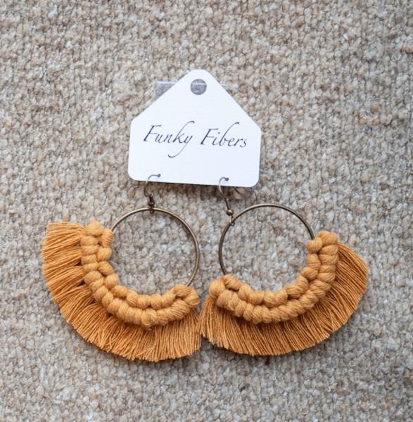 Photo of the mustard colored macrame Funky Fibers earrings