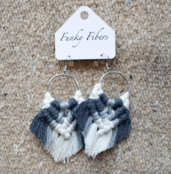 Photo of Elyse-style fringe macrame earrings in Grey from Funky Fibers MN