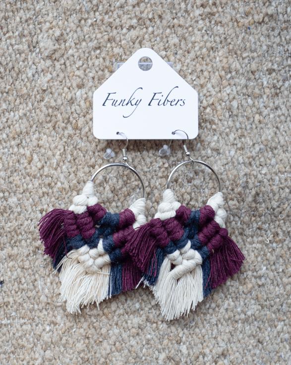 Photo of handmade elyse style earrings from Funky Fibers