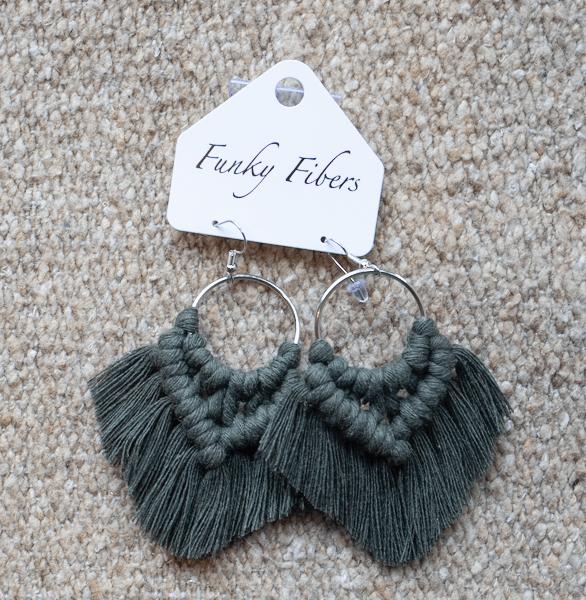 Photo of handmade fringe earrings by Funky Fibers MN