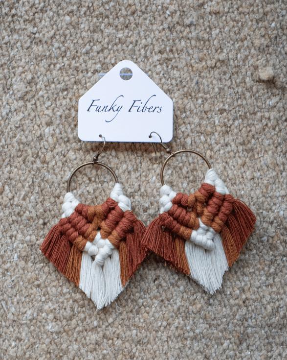 Photo of Elyse-style fringe macrame earrings from Funky Fibers MN