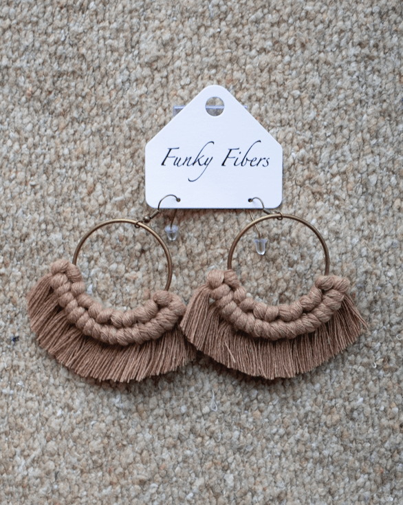 Photo of handmade hoop macrame earrings by Funky Fibers MN
