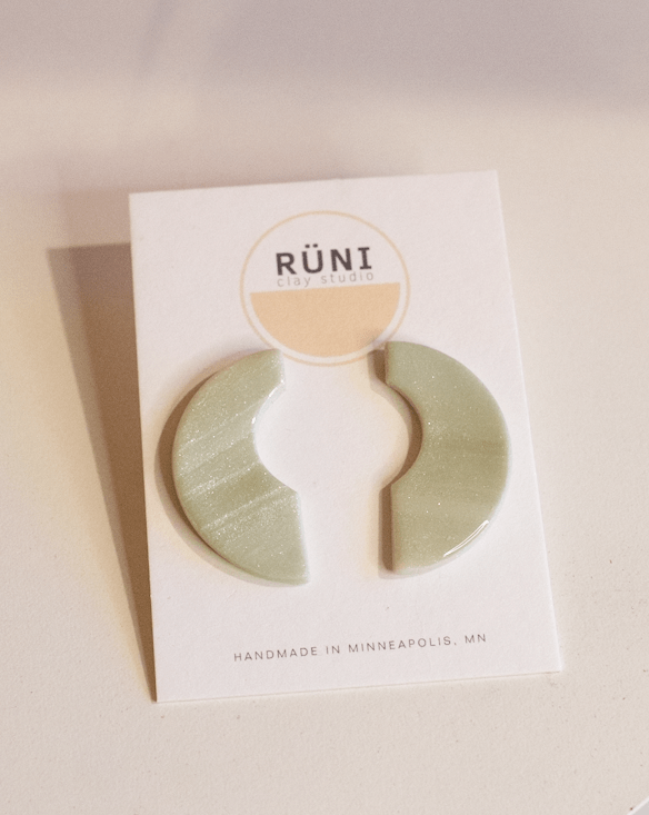 jade half moon earrings from runi clay studio