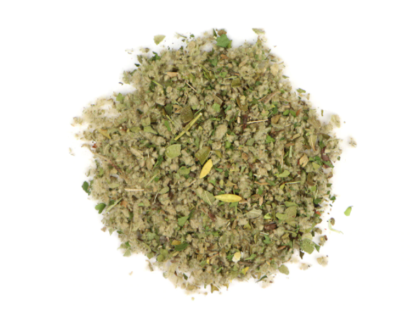 small pile of herbs in the herbal smoking blend