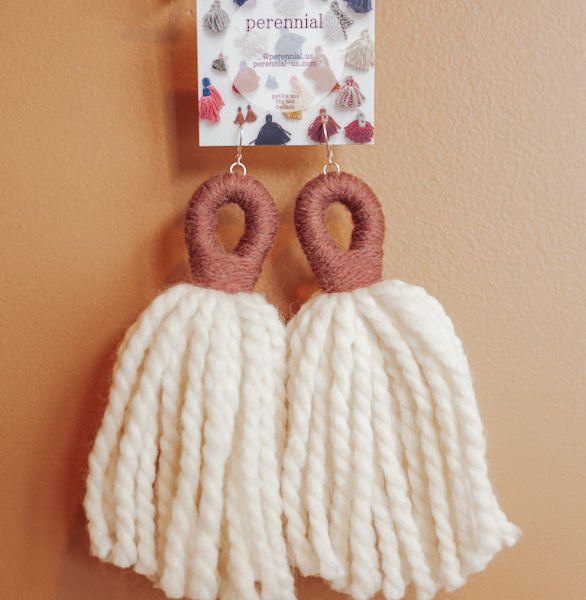 big ass tassel earrings in white and mauve by perennial