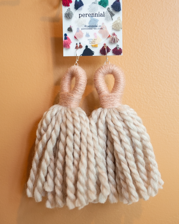 big ass tassel earrings in tan and light pink by perennial