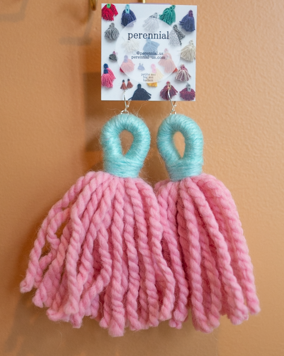 big ass tassel earrings in bubblegum pink and blue colors by perennial