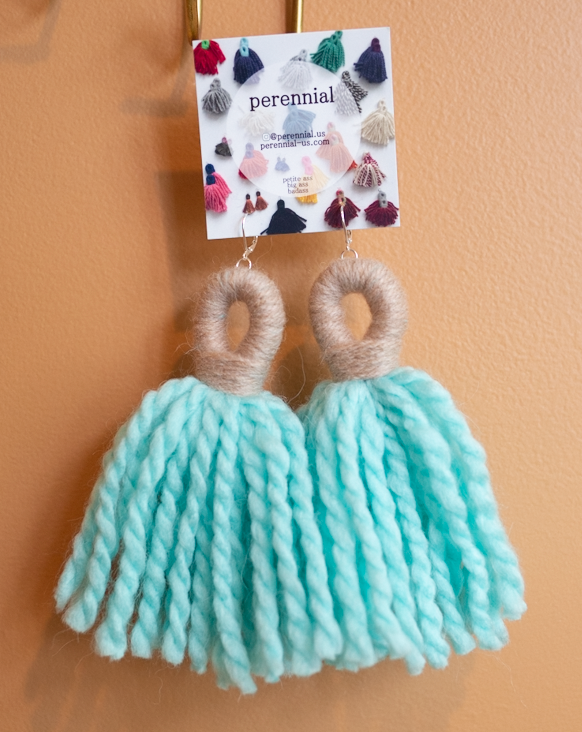 big ass tassel earrings in blue and tan by perennial