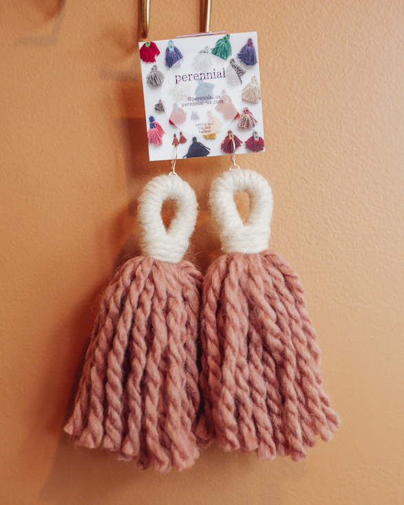 big ass tassel earrings in mauve and cream by perennial