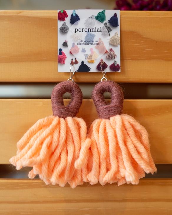 midi tassel earrings in orange and mauve by perennial
