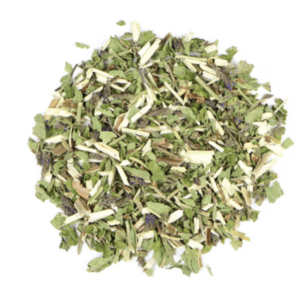Small pile of loose leaf Blue Vervain herbs from Mountain Rose Herbs