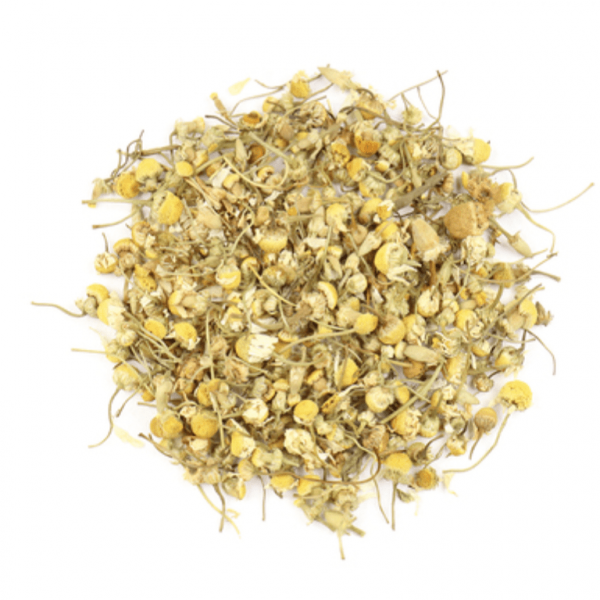 small pile of Chamomile flowers from Mountain Rose Herbs
