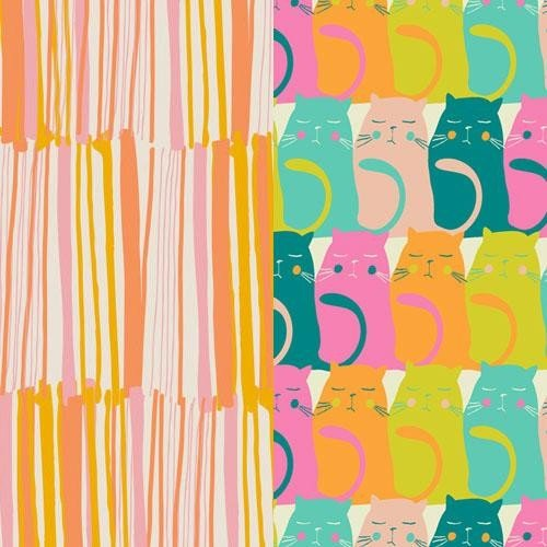 colorful kitties orange stripe masks from Marley's Monsters