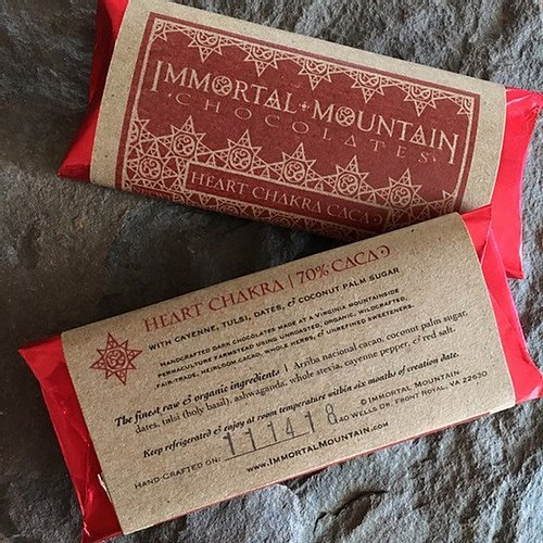 heart chakra chocolate 70& cacao from Immortal Mountain