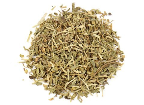 Small pile of loose leaf Gotu Kola herbs from Mountain Rose Herbs