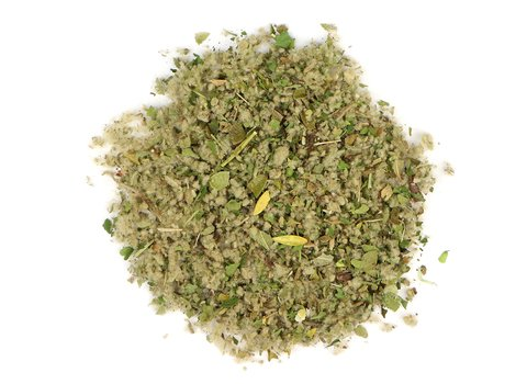 Small pile of loose leaf Herbal Smoking Blend herbs from Mountain Rose Herbs