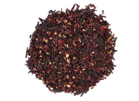 Small pile of loose leaf Hibiscus herbs from Mountain Rose Herbs