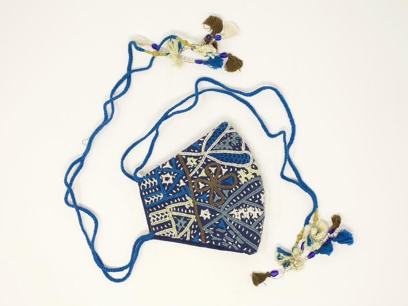 handmade blue tassel mask by kala raksha