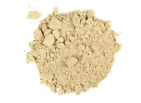 Small pile of loose leaf Kava Kava Powder from Mountain Rose Herbs