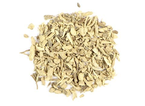 Small pile of loose leaf Kava Kava Root from Mountain Rose Herbs