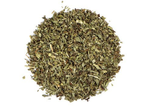 Small pile of loose leaf Lemon Balm herbs from Mountain Rose Herbs