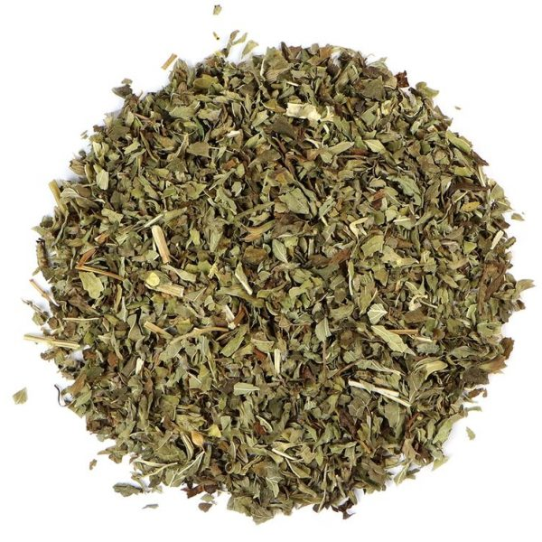 small pile of lemon balm herb from mountain rose herbs