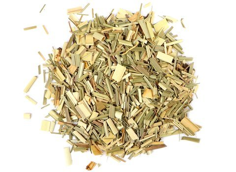 Small pile of loose leaf Lemongrass herbs from Mountain Rose Herbs
