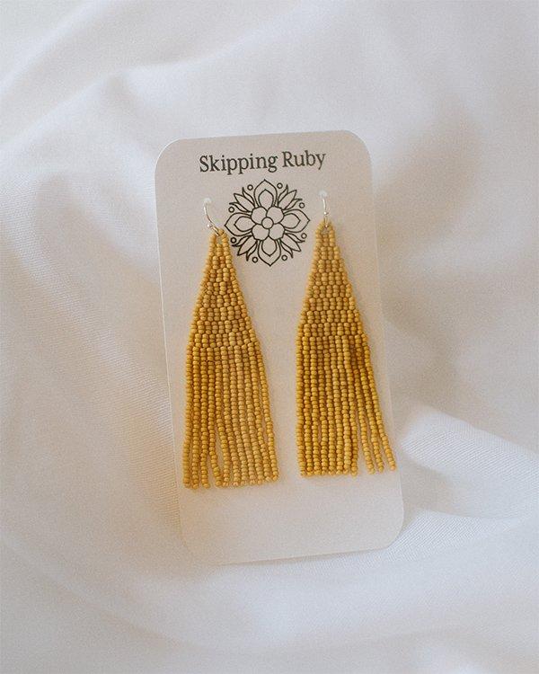 mustard-fringe-earrings
