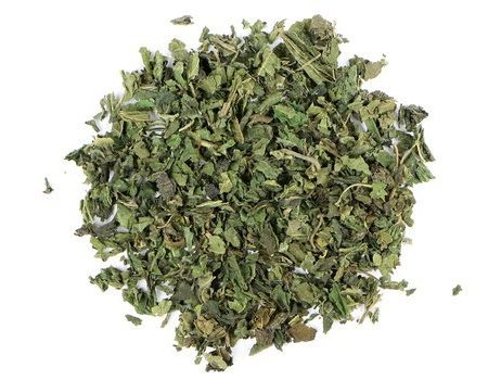 Small pile of loose leaf Nettle Leaf herbs from Mountain Rose Herbs