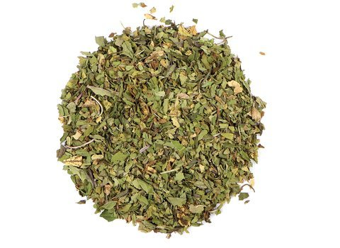 Small pile of loose leaf Peppermint herbs from Mountain Rose Herbs