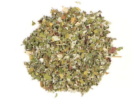 Small pile of loose leaf Raspberry Leaf herbs from Mountain Rose Herbs