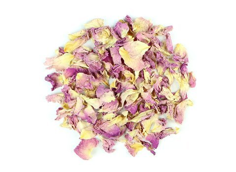 Small pile of loose leaf Rose Petal herbs from Mountain Rose Herbs